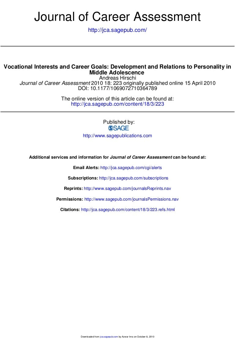 journal of career assessment hirschi
