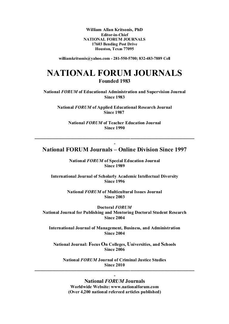 National Forum Journals Nationalforum