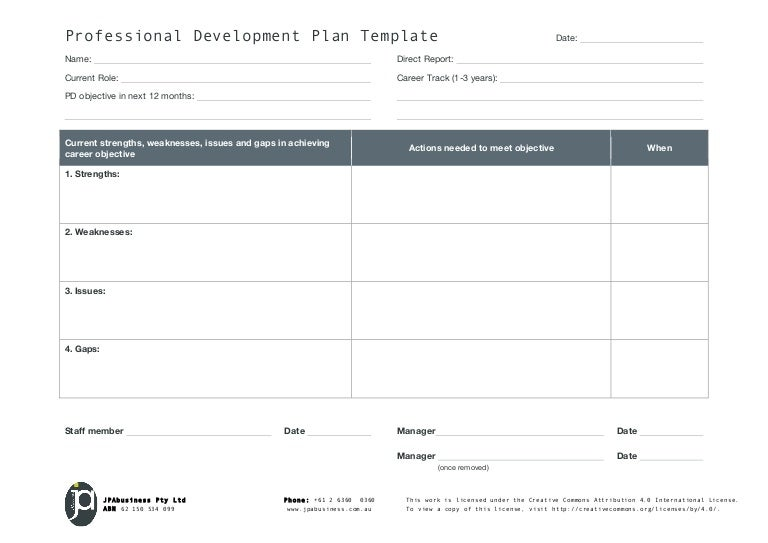 Jpabusiness Professional Development Plan Template