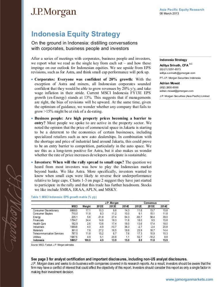 jp morgan - indonesia equity strategy