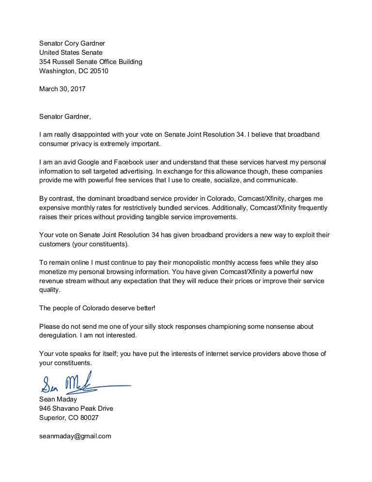 Letter to Senator Gardner Regarding Joint Resolution 34   20170330