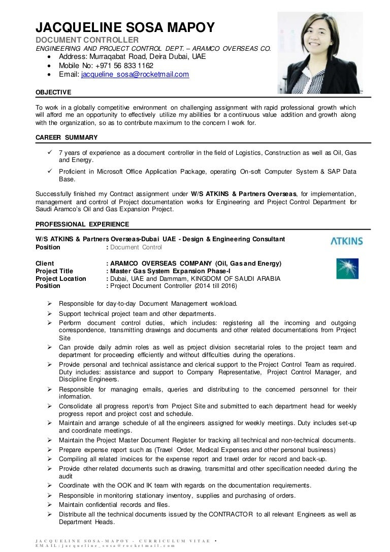 Jsm Document Controller Cv .