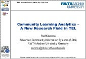 Community Learning Analytics – A New Research Field in TEL