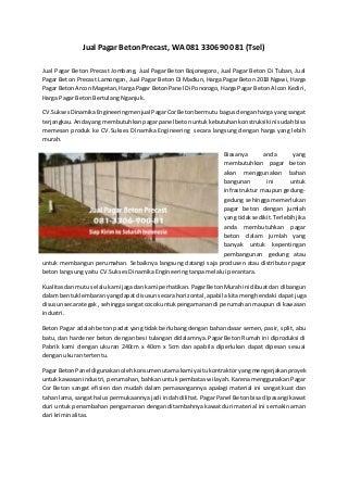 Jual pagar beton precast jombang, 081 330-690-081 (tsel)