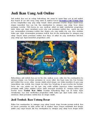 Judi ikan uang asli online