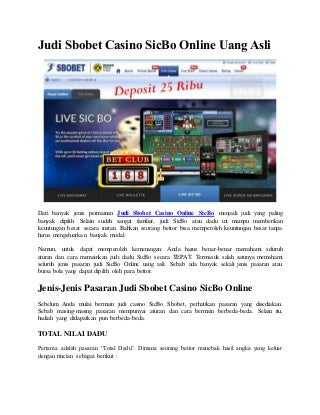 Judi sbobet casino sic bo online uang asli