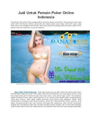 Judi untuk pemain poker online indonesia