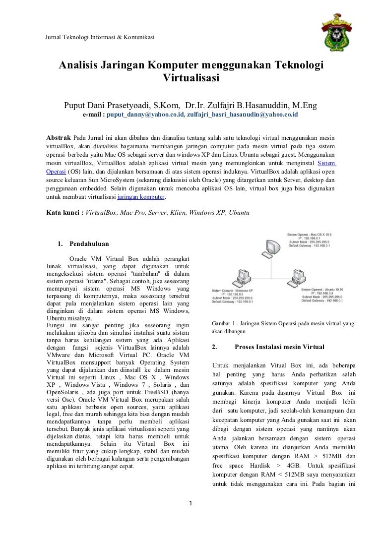 Judul Jurnal Analisis Jaringan Komputer Menggunakan Teknologi Virtual
