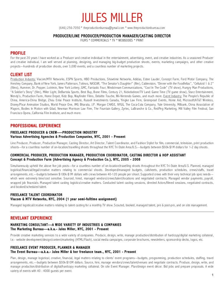 Resume Samples Television Industry
