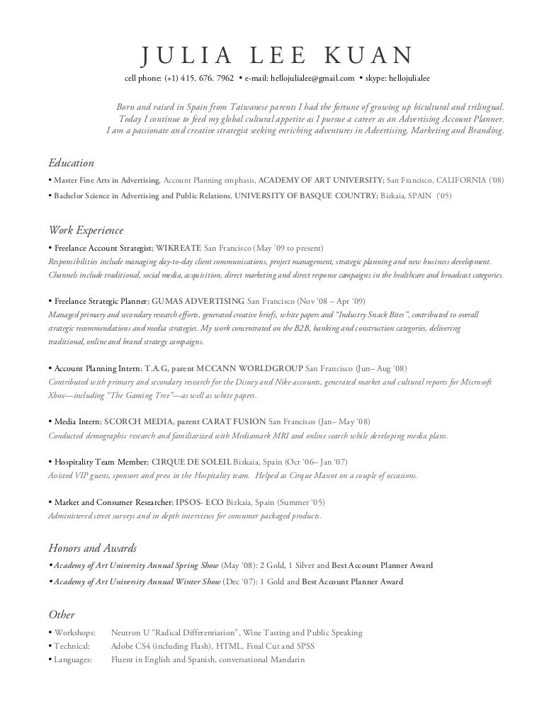 julia lee resume - Advertising Internship Resume