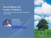 Social Media & Investor Relations Trends, Best Practices & Recommendations - July 16, 2009