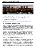 Winnipeg Real Estate Market report July 2015