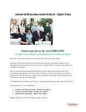 Jumeirah Baccalaureate School - Open Days