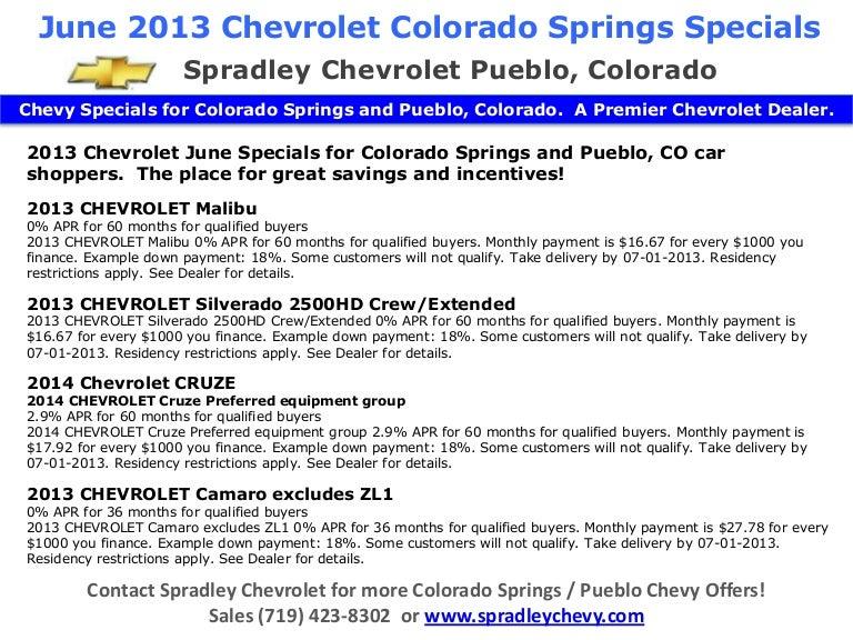June 2013 Chevrolet Colorado Springs Specials L Spradley