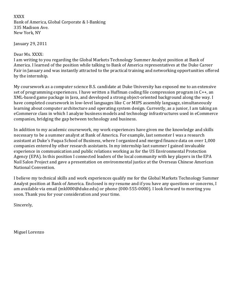 Junior cover letter computer science for Cover letter for summer internship in computer science