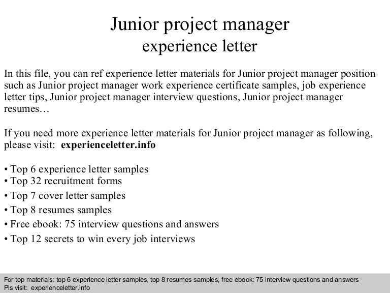 Juniorprojectmanagerexperienceletter-140823111230-Phpapp01