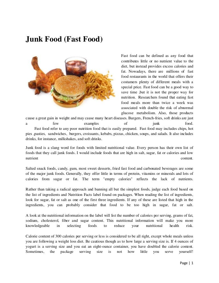 Cause And Effect Essay On Fast Food
