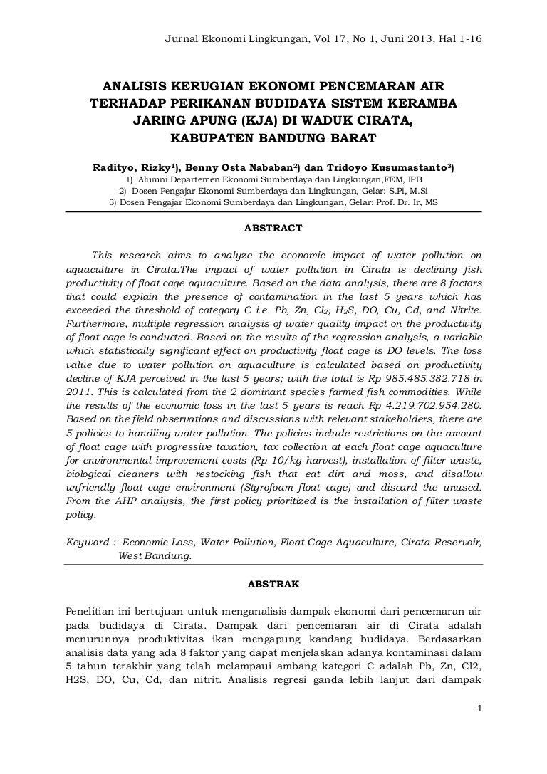 Jurnal Ekonomi Lingkungan Vol 17 No 1 Ipb