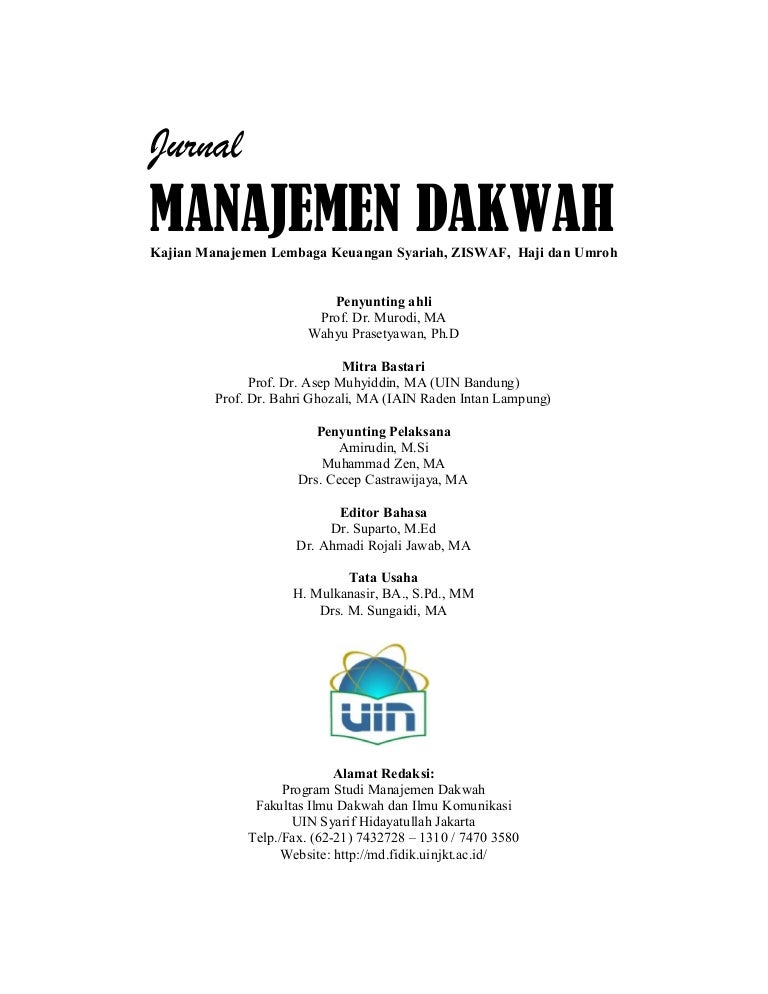 Jurnal Lengkap Manajemen Dakwah Uin Jakarta Edisi I