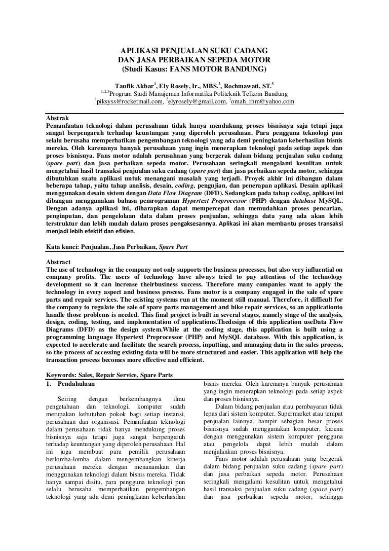 Jurnal Pa Aplikasi Penjualan Suku Cadang Dan Jasa Perbaikan