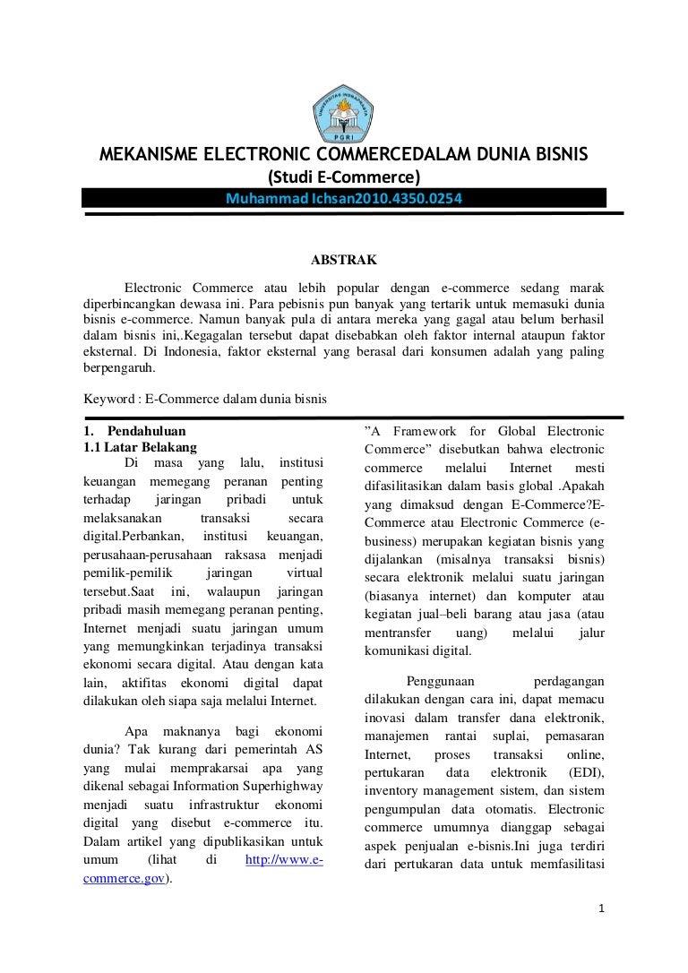 Mekanisme Electronic E Commerce Dalam Dunia Bisnis