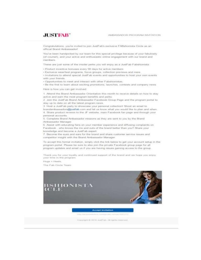 Justfab brand ambassador invitation stopboris Image collections