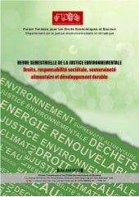 Revue semestrielle de la justice environnementale : Droits, responsabilité sociétale, souveraineté alimentaire et développement durable