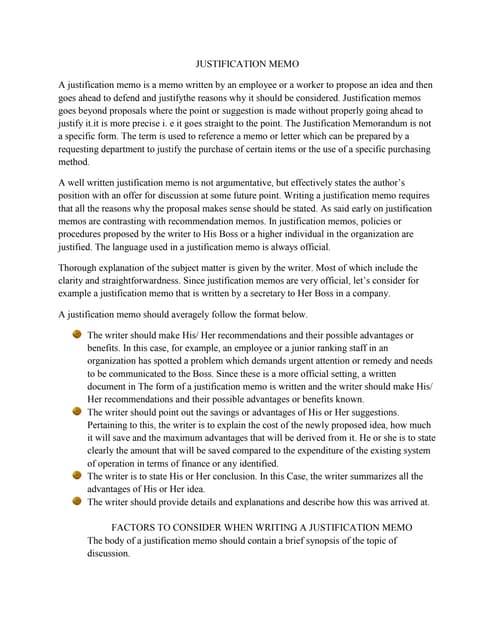 Justification report