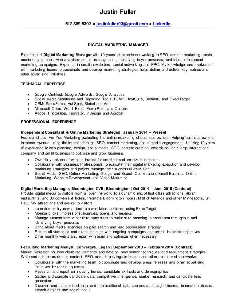 justin fullers resume digital marketing manager. Resume Example. Resume CV Cover Letter