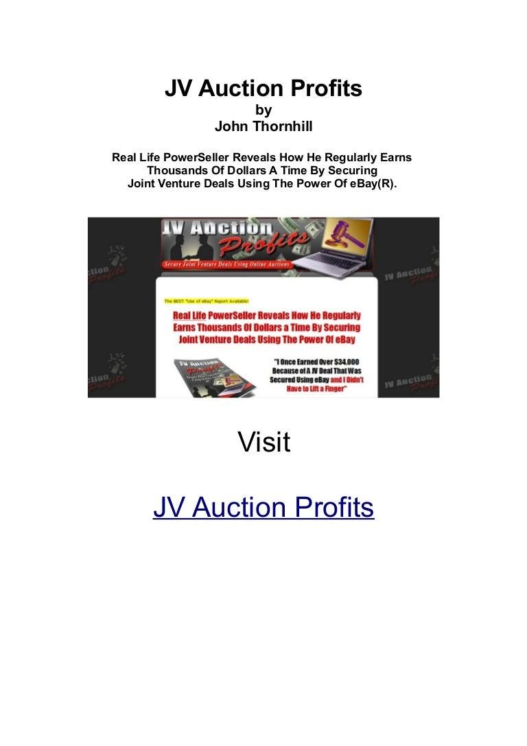Jv Auction Profits By John Thornhill