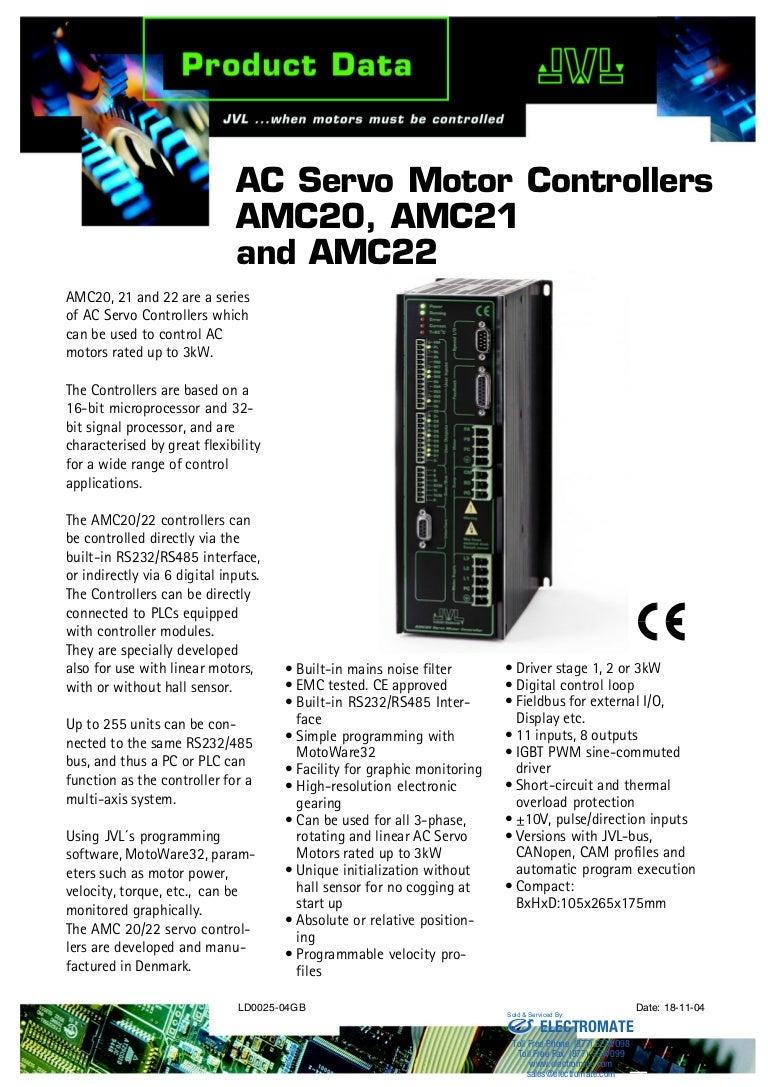 Jvl Ac Servo Motor Controllers Amc20 Amc21 And Amc22 Pulse Generator