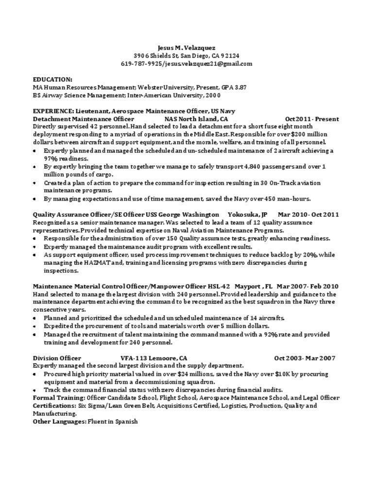 Jv One Page Resume  Maintenance Man Resume