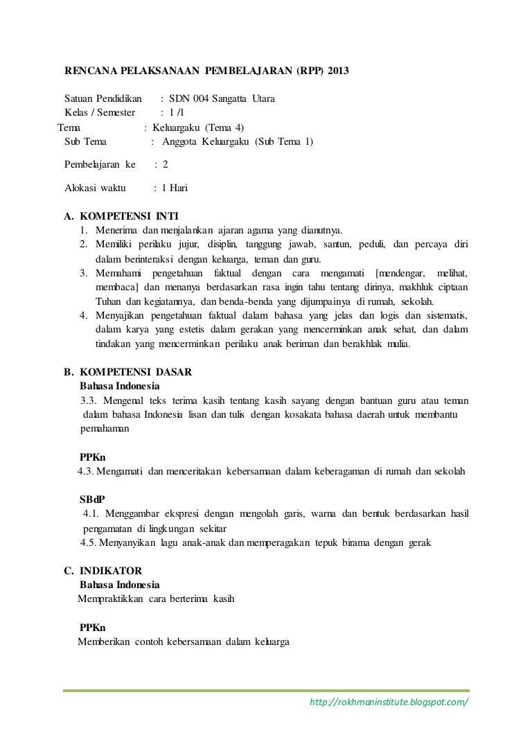 K1 T4 St1 P6 Rpp Tema 4 Kelas 1 Sub Tema 1 3