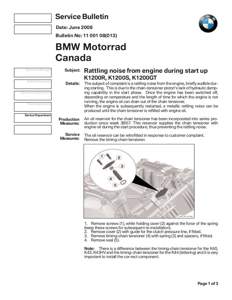 k1200 timing chain tensioner attachment service bulletin