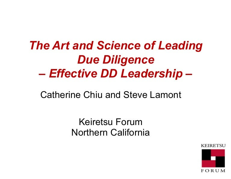 Leading Due Diligence - Session 3 - Effective DD Leadership