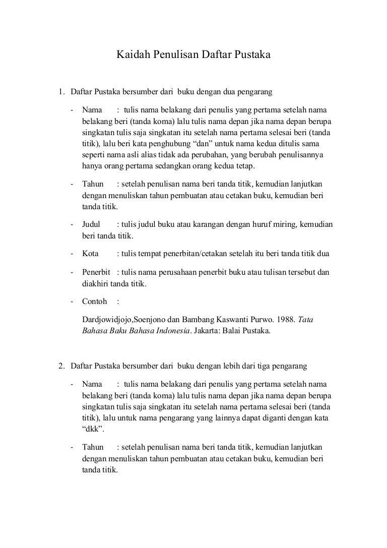 Kaidah Penulisan Daftar Pustaka