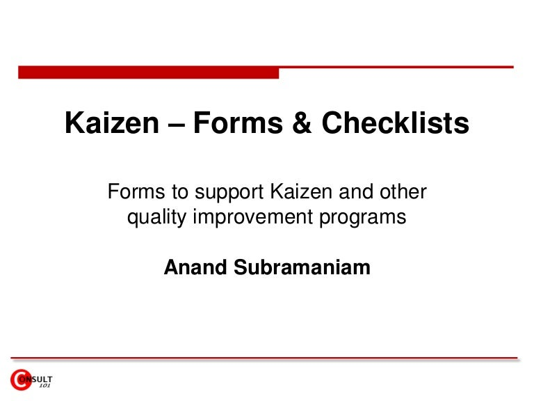 kaizen forms checklists