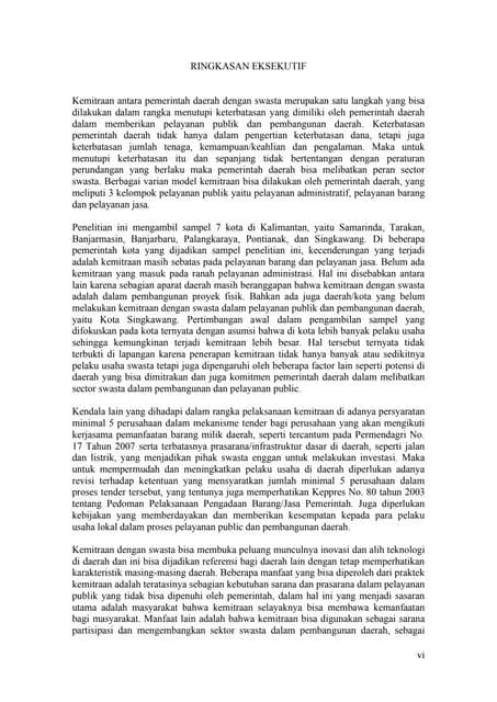 """Kajian """"Pola Kemitraan Pemerintah Kota Dengan Swasta Dalam Pembangunan Daerah di Kalimantan"""
