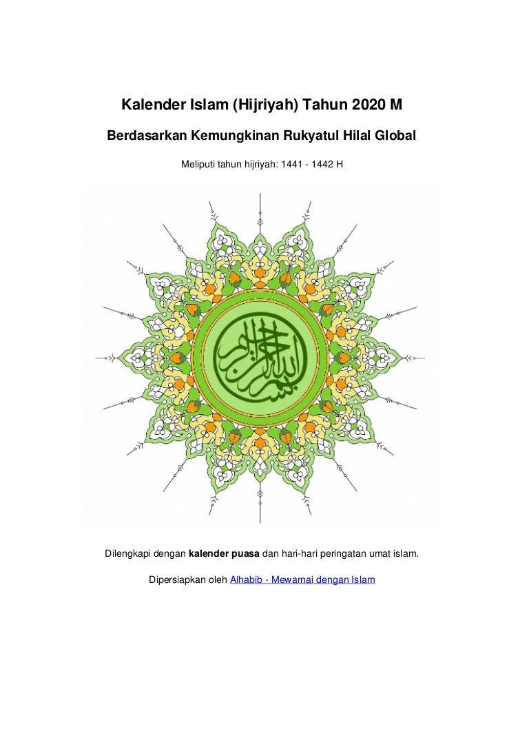 Kalender Islam Global Tahun 2020 M