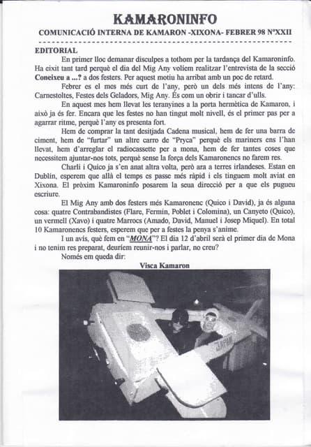 Kamaroninfo núm. 22 febrer 1998
