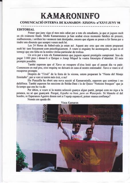 Kamaroninfo núm. 26 juny 1998