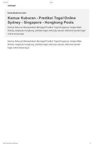 Kamus Kuburan - Prediksi Togel Online Sydney - Singapore - Hongkong Pools