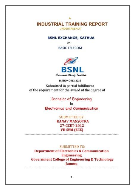 Bsnl electronics training report