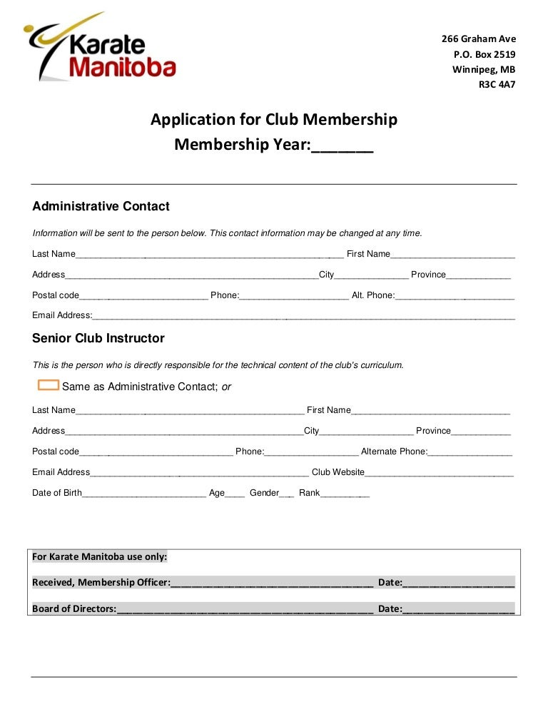 Club/Instructor Application Form: Karate Manitoba 2012-2013