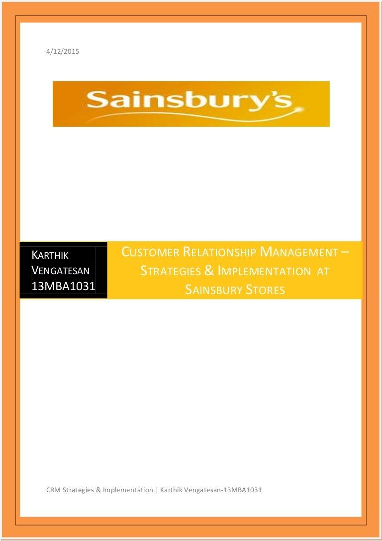 Karthik vengatesan sainsbury retail operations crm falaconquin