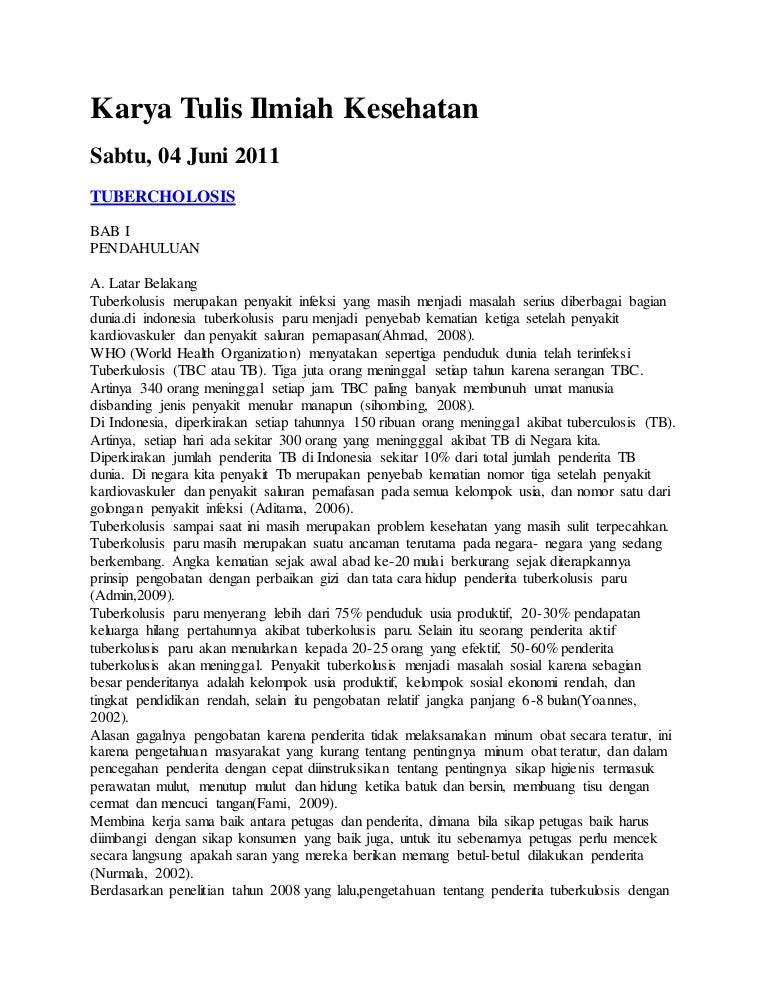 Contoh Karya Tulis Ilmiah Tentang Kesehatan 2010
