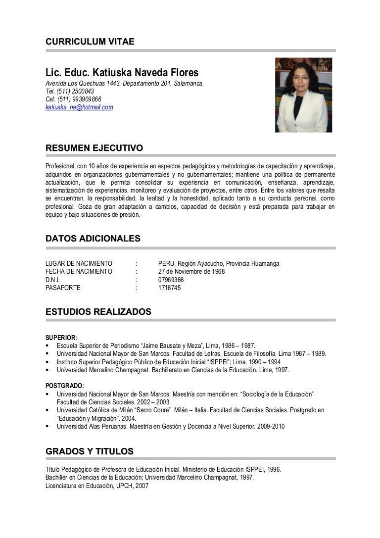 Único Ejemplos De Curriculum Vitae Activo Molde - Ejemplo De ...