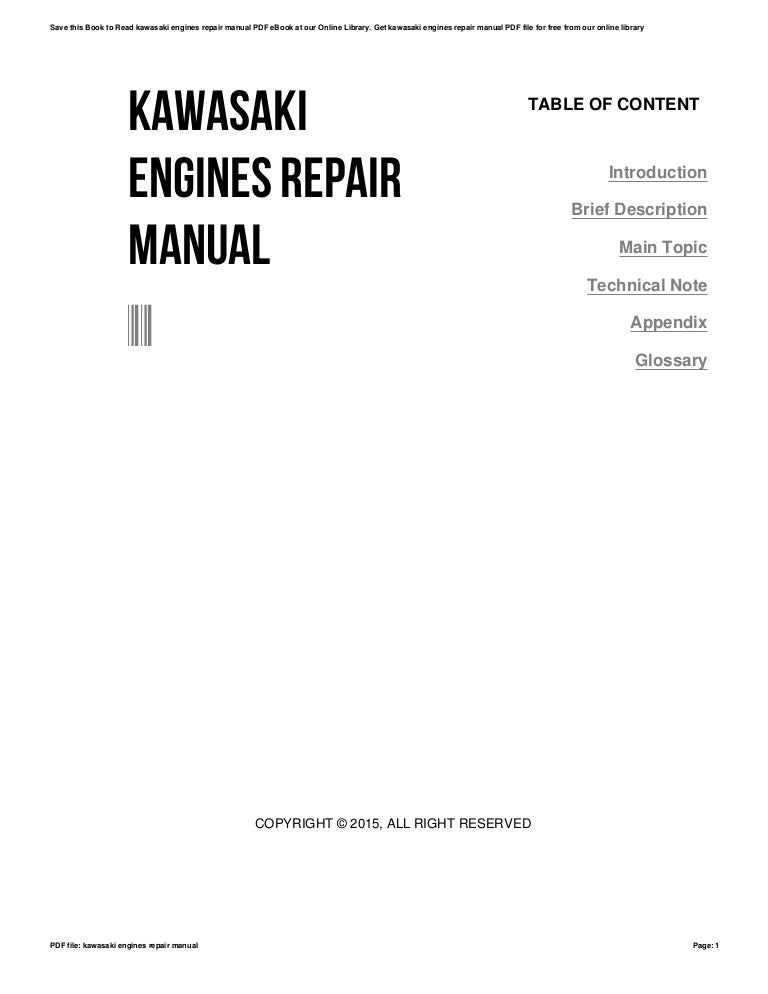 Kawasaki engines repair manual
