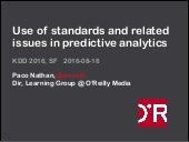 Use of standards and related issues in predictive analytics