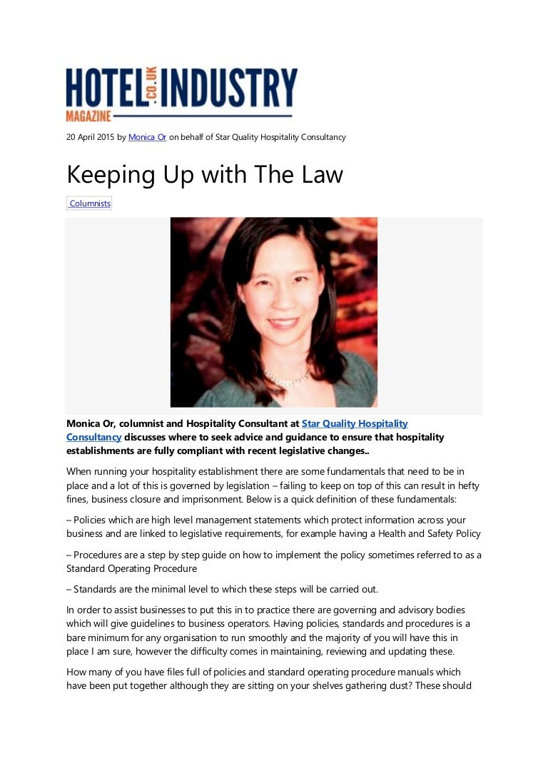 Keeping Up with the Law 20 April 2015